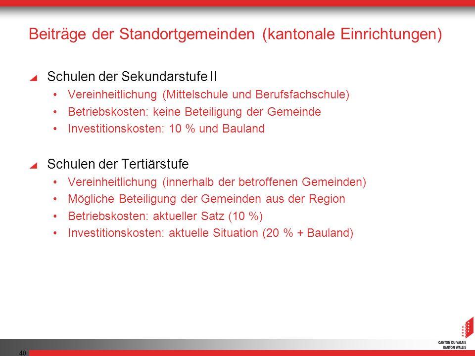 Beiträge der Standortgemeinden (kantonale Einrichtungen)