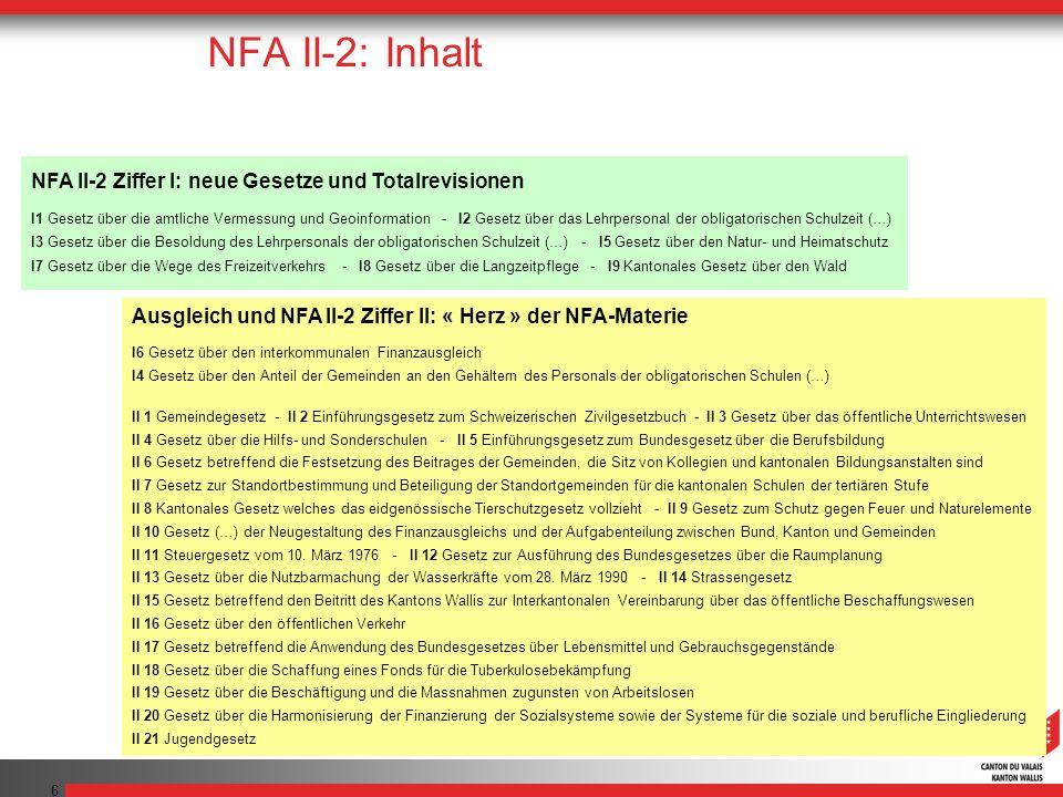 NFA II-2: Inhalt NFA II-2 Ziffer I: neue Gesetze und Totalrevisionen