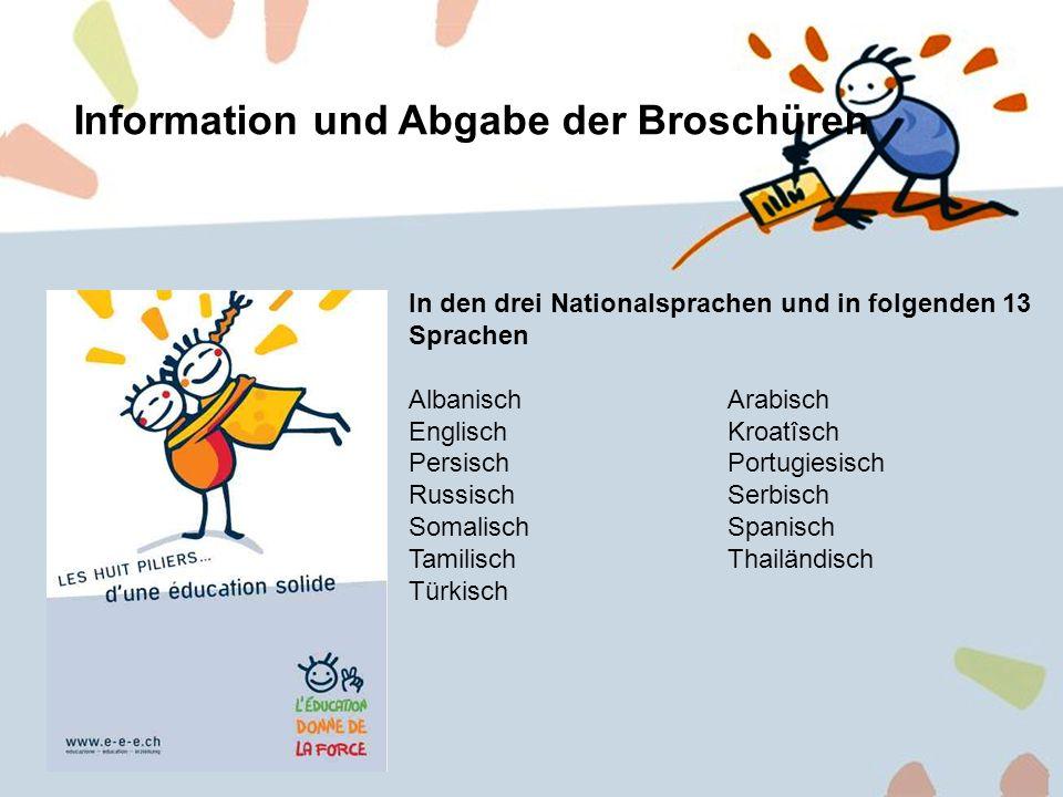 Information und Abgabe der Broschüren