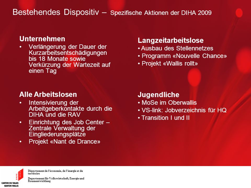 Bestehendes Dispositiv – Spezifische Aktionen der DIHA 2009