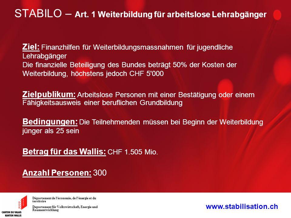STABILO – Art. 1 Weiterbildung für arbeitslose Lehrabgänger