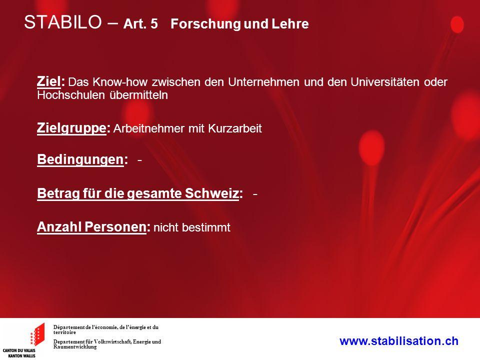 STABILO – Art. 5 Forschung und Lehre