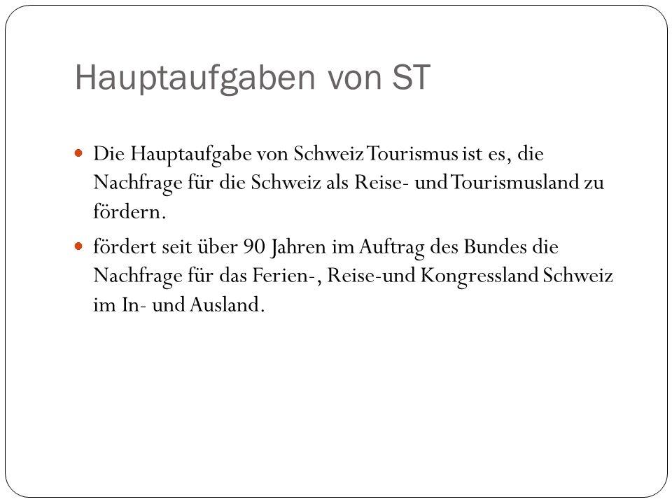 Hauptaufgaben von STDie Hauptaufgabe von Schweiz Tourismus ist es, die Nachfrage für die Schweiz als Reise- und Tourismusland zu fördern.