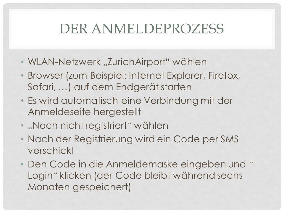 """Der anmeldeprozess WLAN-Netzwerk """"ZurichAirport wählen"""