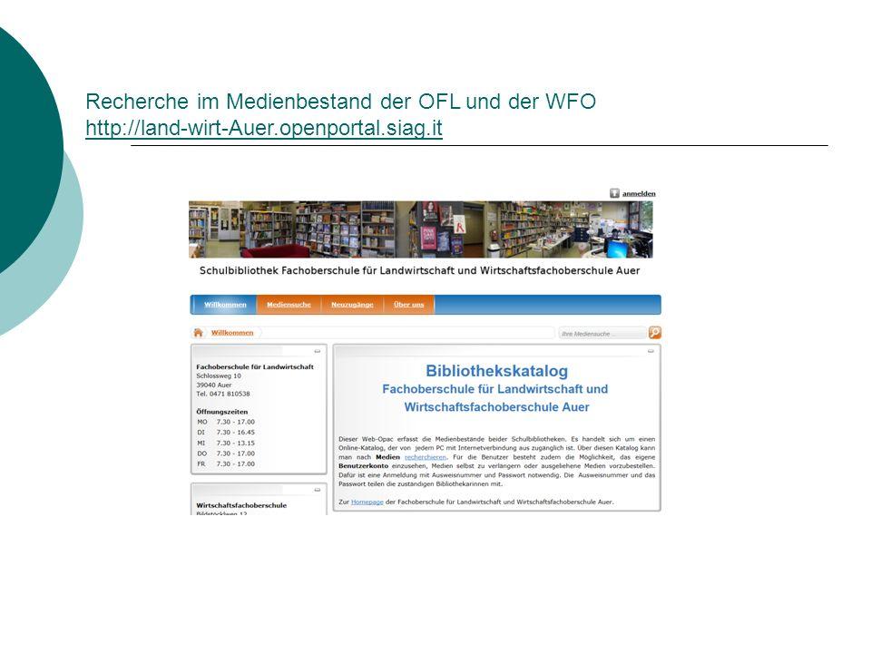 Recherche im Medienbestand der OFL und der WFO http://land-wirt-Auer