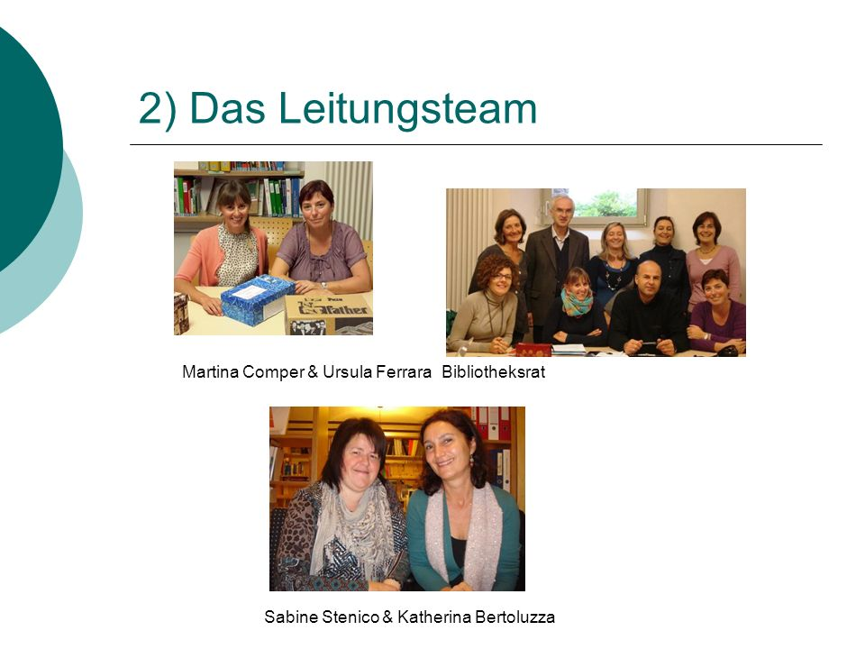 2) Das Leitungsteam Martina Comper & Ursula Ferrara Bibliotheksrat