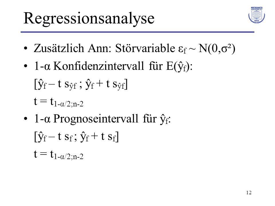 Regressionsanalyse Zusätzlich Ann: Störvariable εf ~ N(0,σ²)