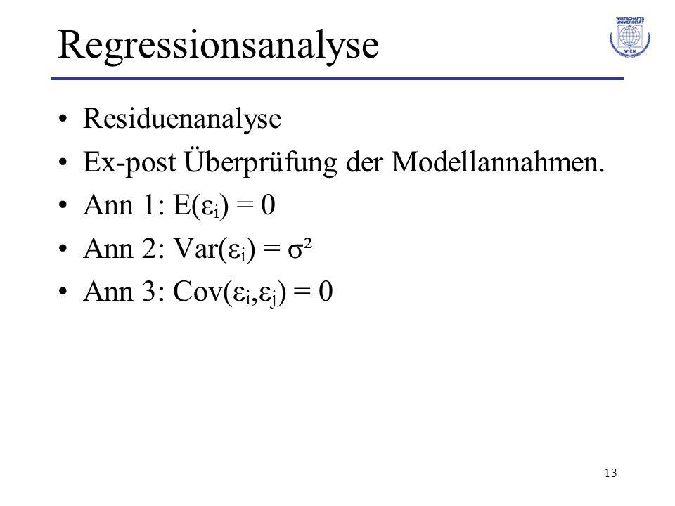 Regressionsanalyse Residuenanalyse