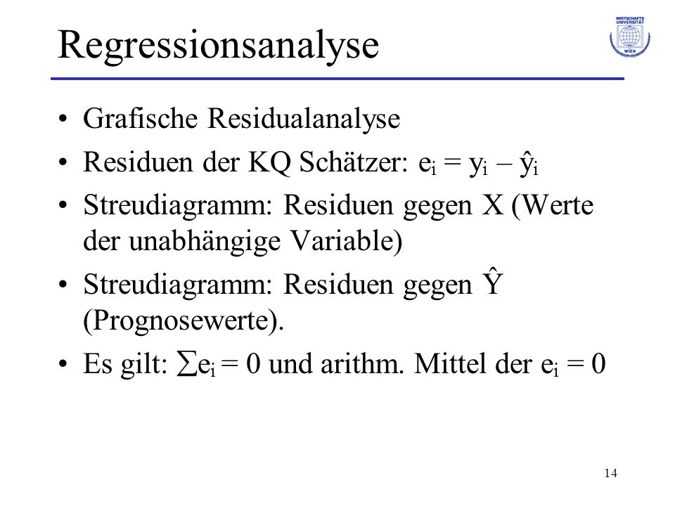 Regressionsanalyse Grafische Residualanalyse