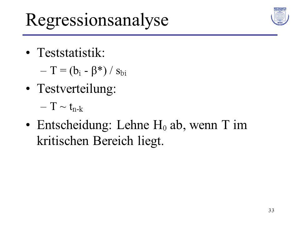 Regressionsanalyse Teststatistik: Testverteilung: