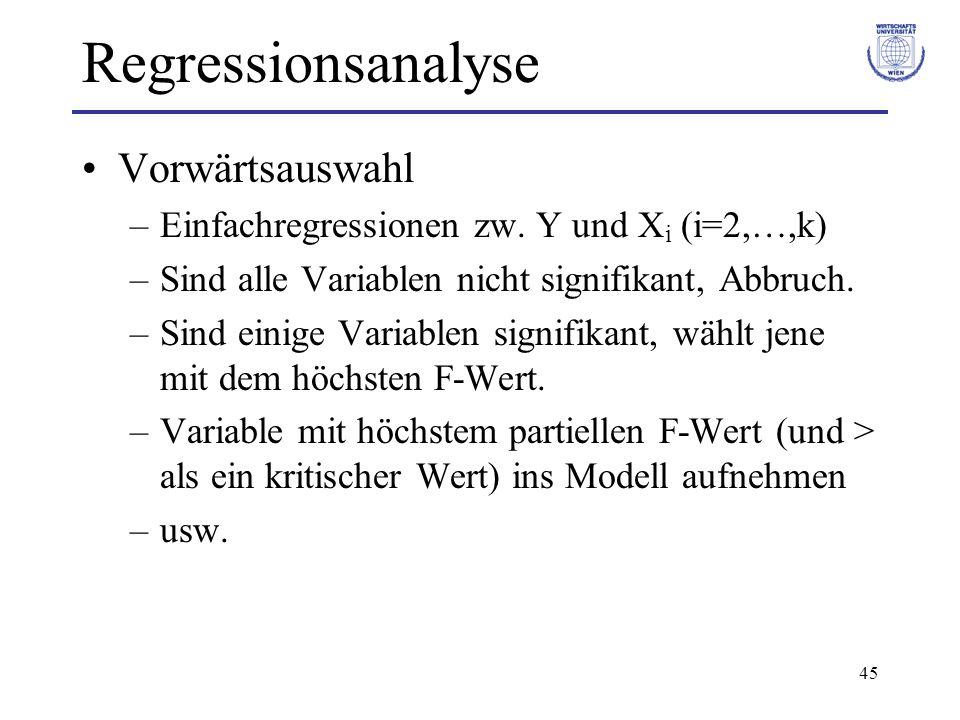Regressionsanalyse Vorwärtsauswahl
