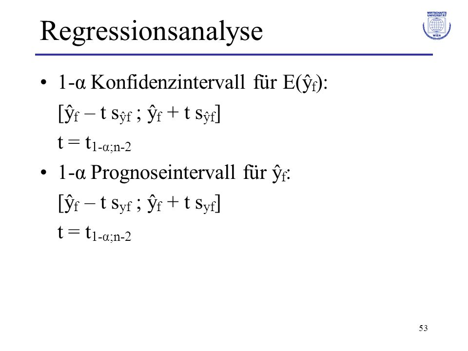Regressionsanalyse 1-α Konfidenzintervall für E(ŷf):