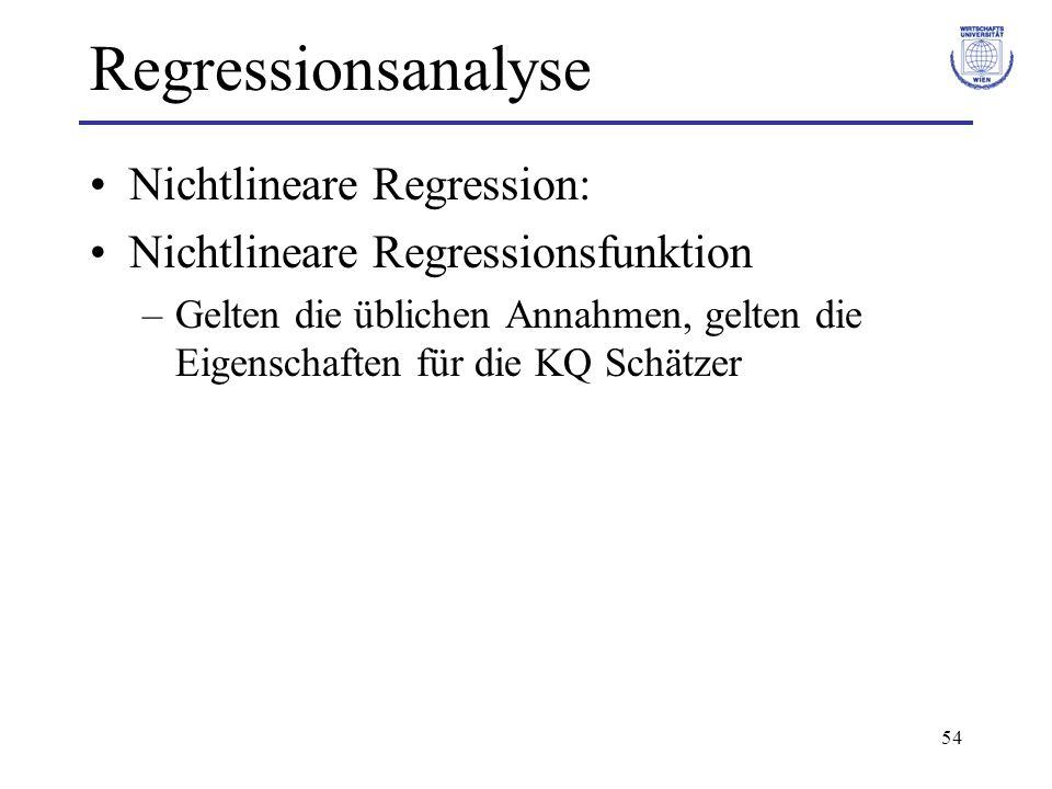 Regressionsanalyse Nichtlineare Regression: