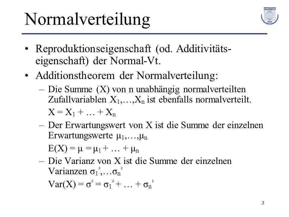 Normalverteilung Reproduktionseigenschaft (od. Additivitäts- eigenschaft) der Normal-Vt. Additionstheorem der Normalverteilung: