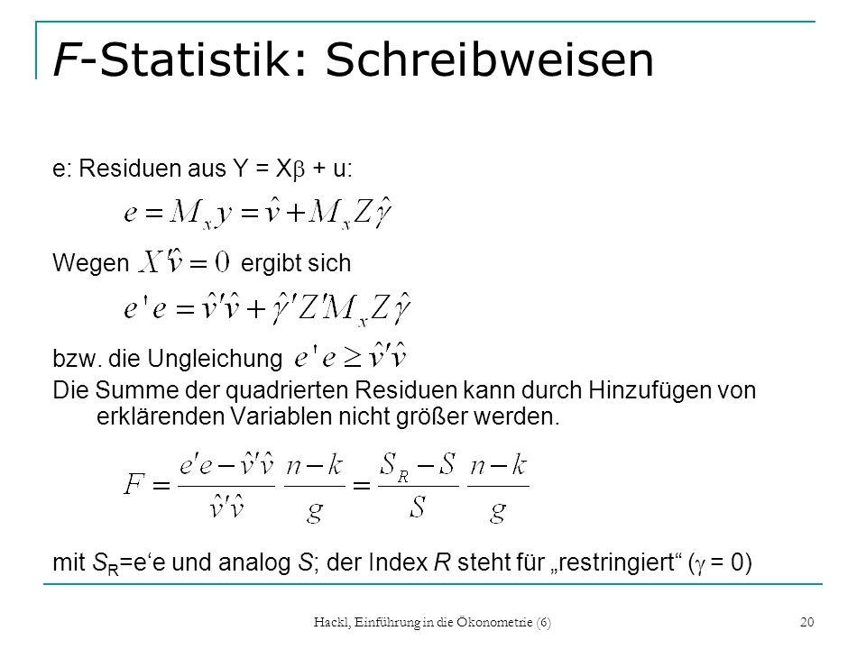 F-Statistik: Schreibweisen