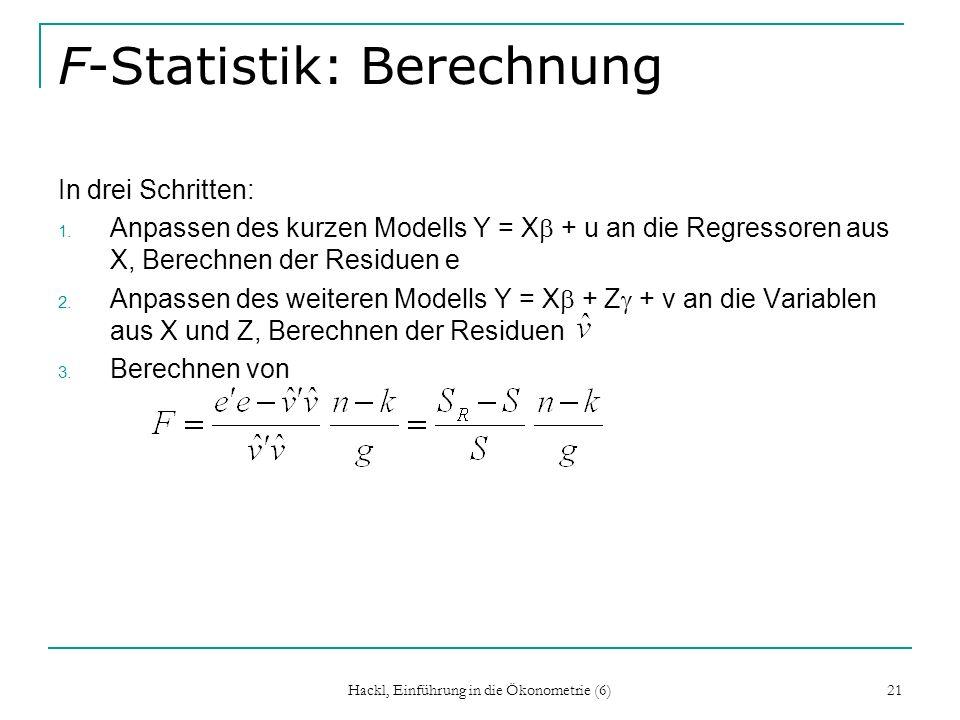 F-Statistik: Berechnung