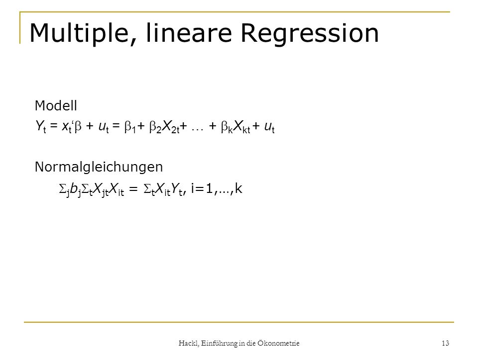 Multiple, lineare Regression