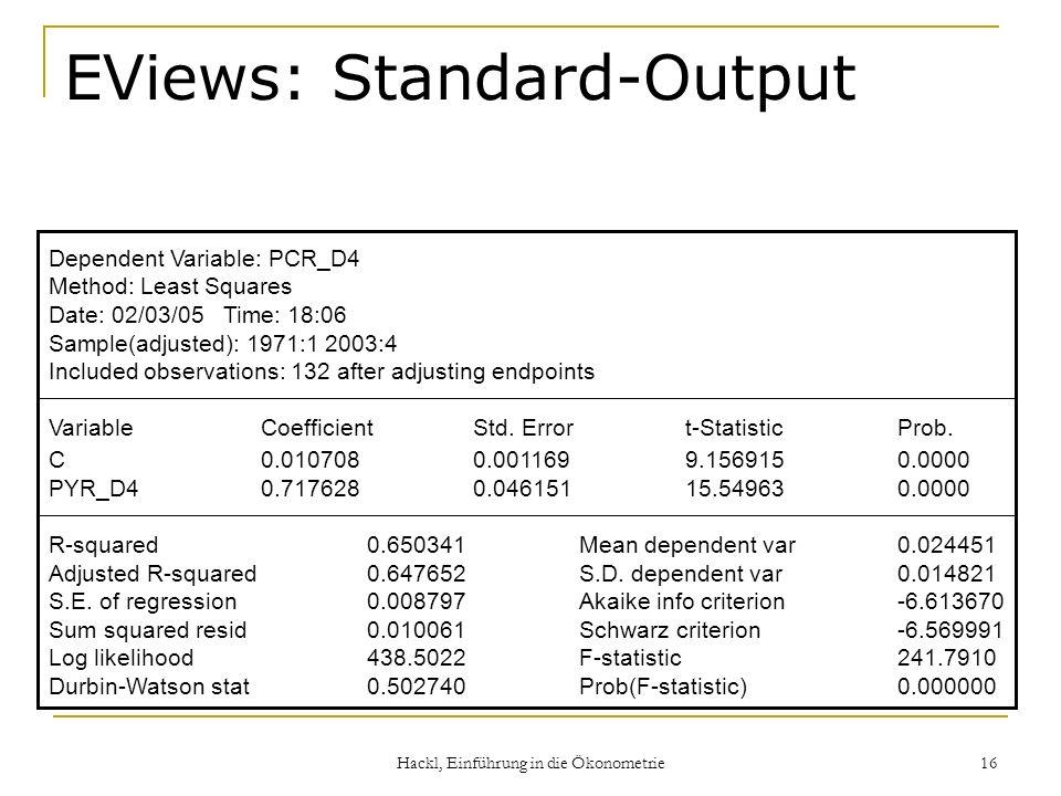 EViews: Standard-Output