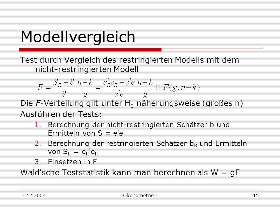 ModellvergleichTest durch Vergleich des restringierten Modells mit dem nicht-restringierten Modell.