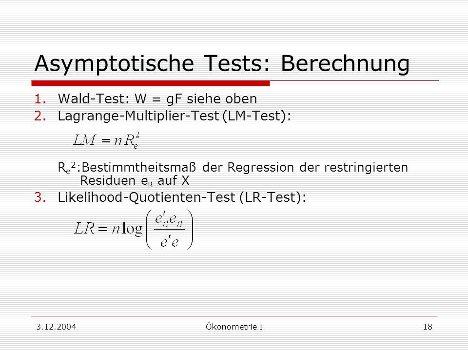 Asymptotische Tests: Berechnung