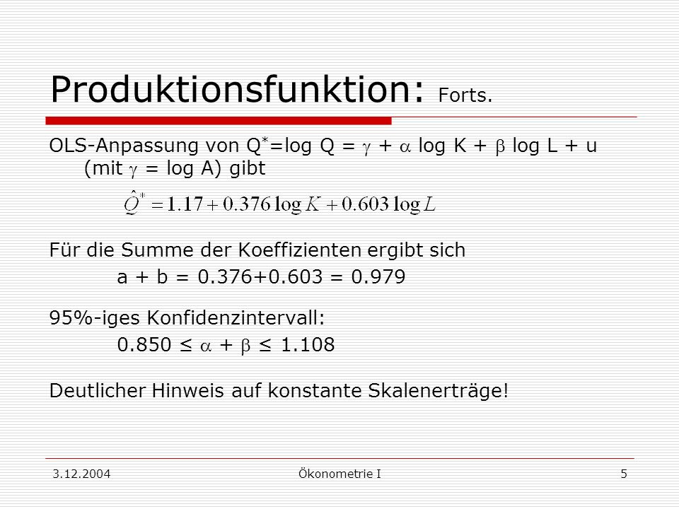 Produktionsfunktion: Forts.