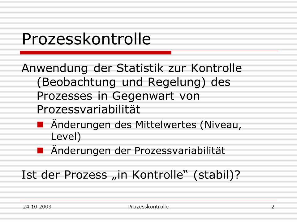 Prozesskontrolle Anwendung der Statistik zur Kontrolle (Beobachtung und Regelung) des Prozesses in Gegenwart von Prozessvariabilität.
