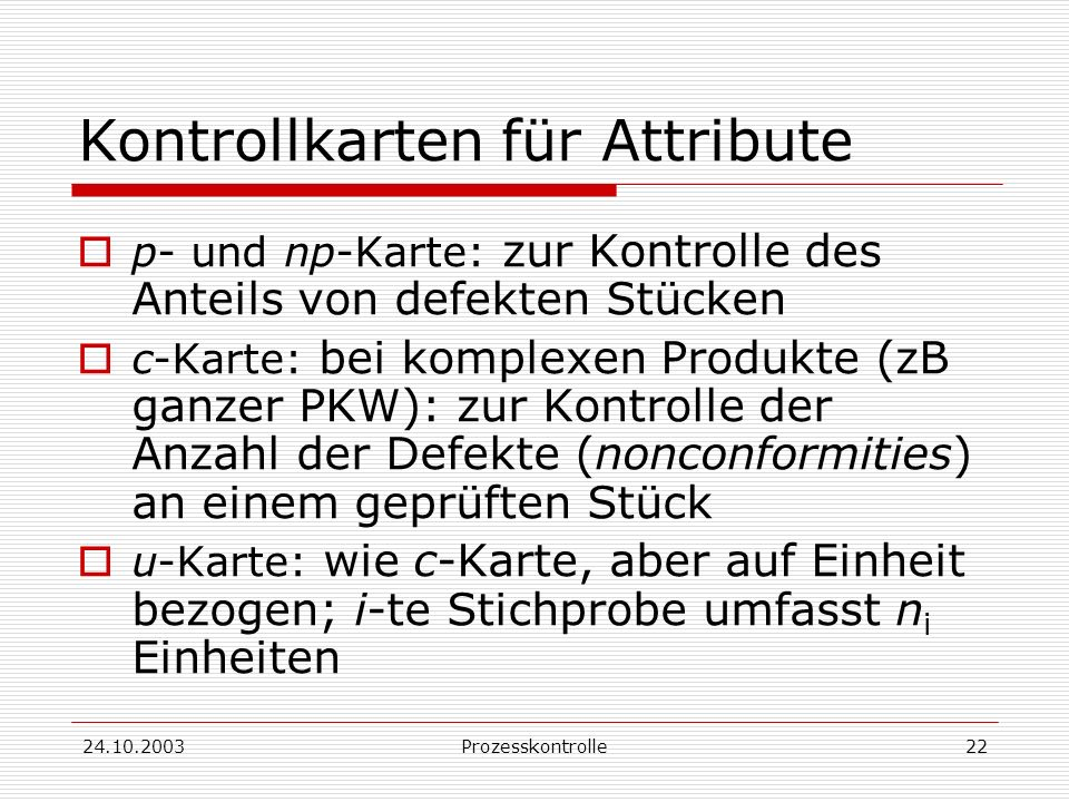 Kontrollkarten für Attribute