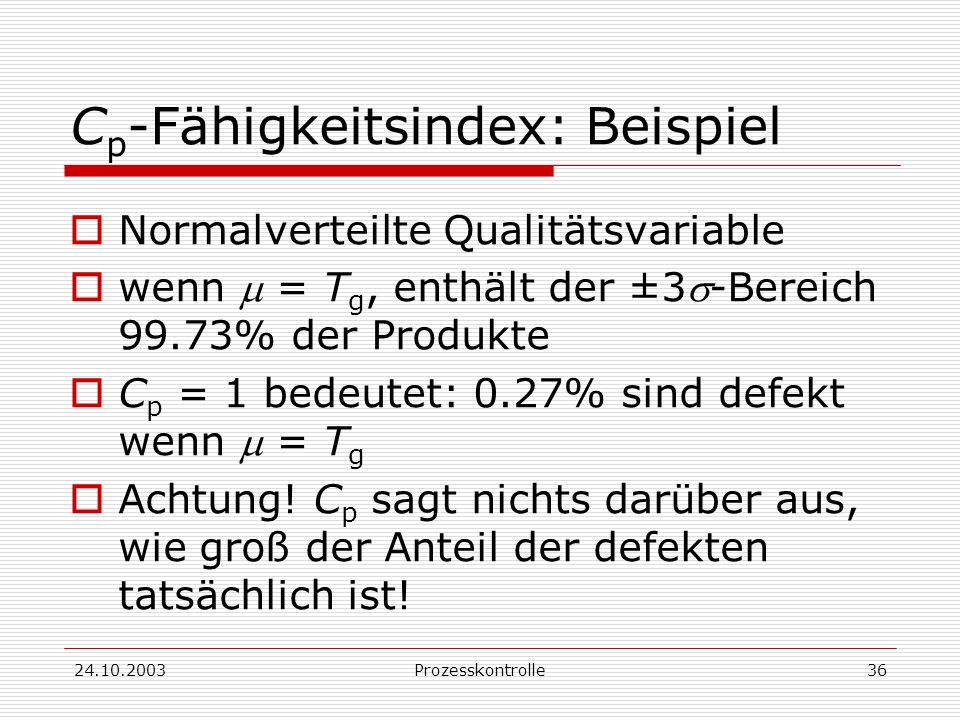 Cp-Fähigkeitsindex: Beispiel