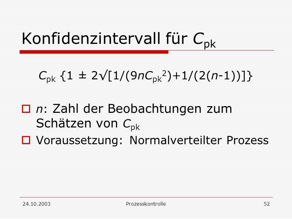 Konfidenzintervall für Cpk