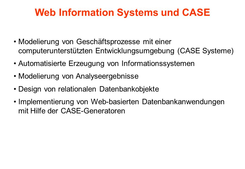 Web Information Systems und CASE