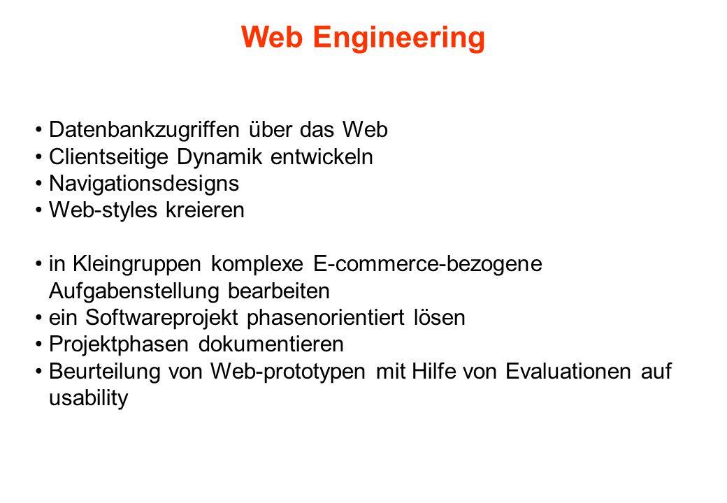 Web Engineering Datenbankzugriffen über das Web