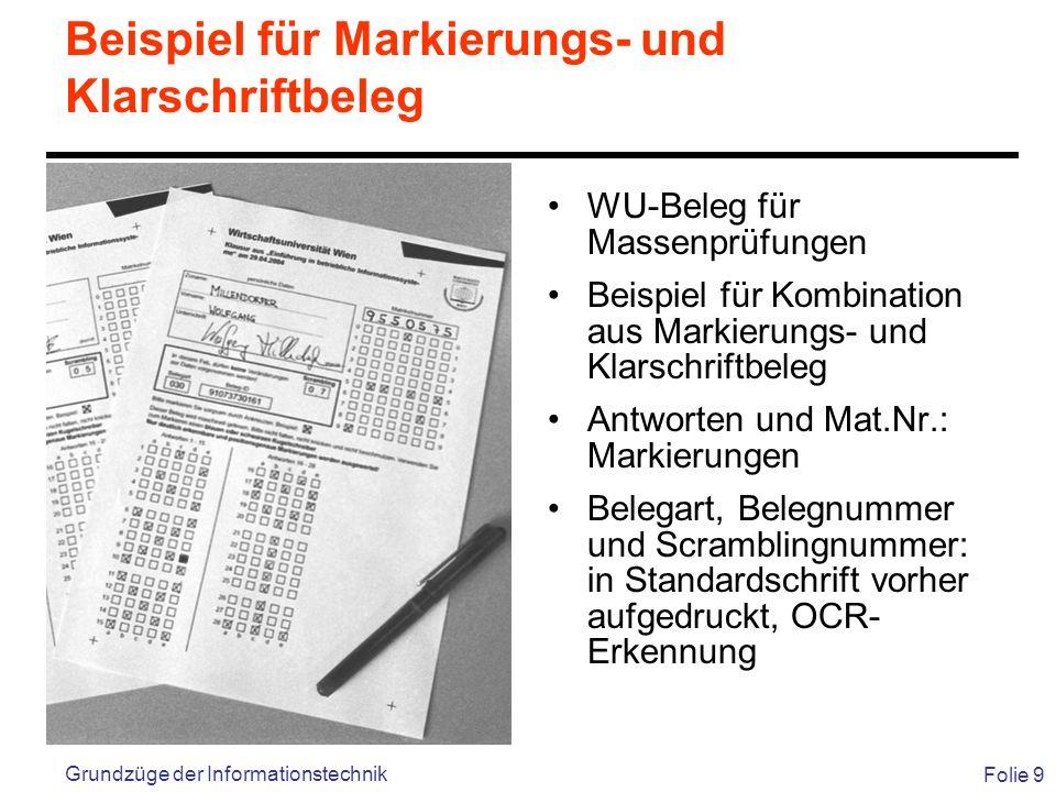 Beispiel für Markierungs- und Klarschriftbeleg