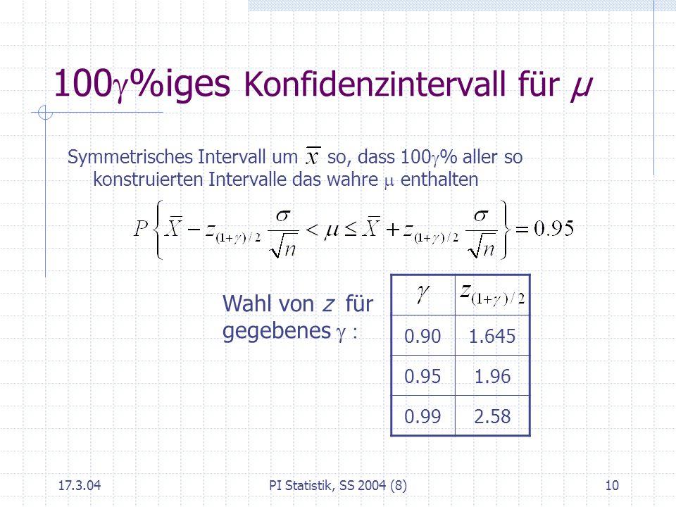 100g%iges Konfidenzintervall für μ