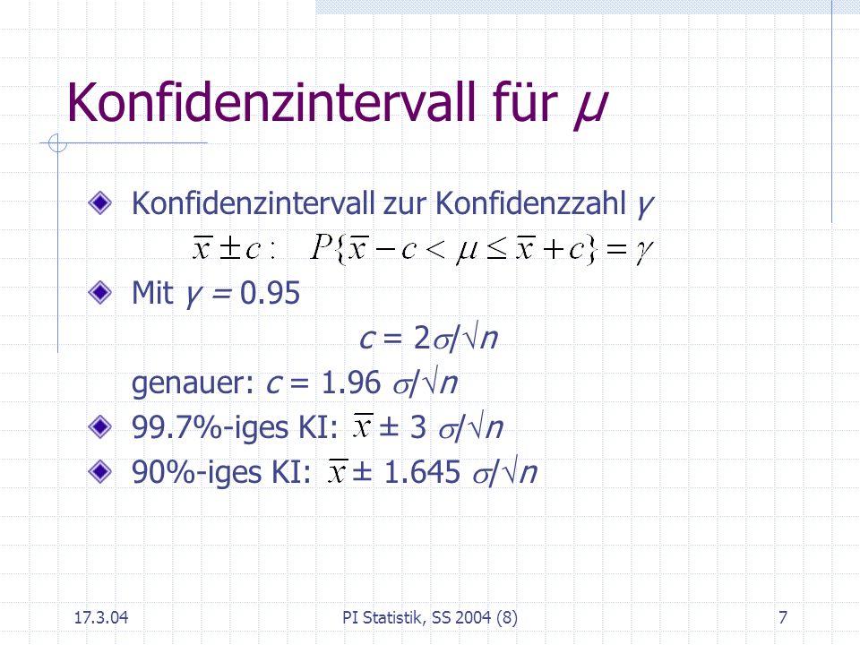 Konfidenzintervall für μ