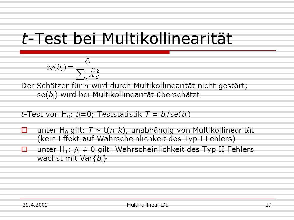 t-Test bei Multikollinearität