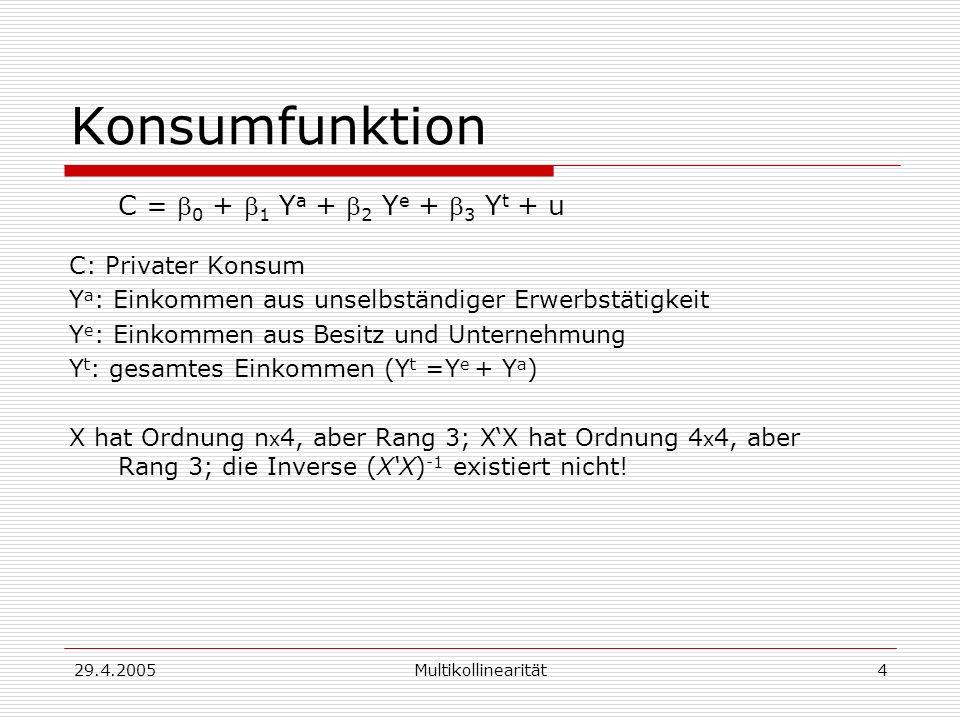 Konsumfunktion C = b0 + b1 Ya + b2 Ye + b3 Yt + u C: Privater Konsum