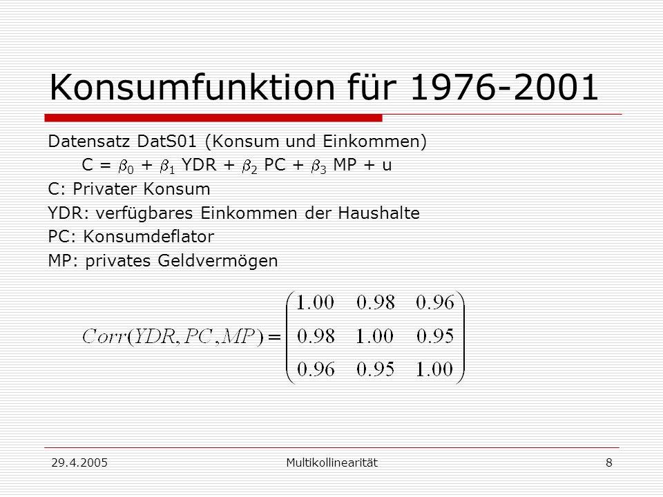 Konsumfunktion für 1976-2001 Datensatz DatS01 (Konsum und Einkommen)