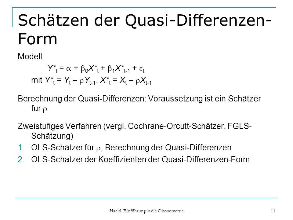 Schätzen der Quasi-Differenzen-Form