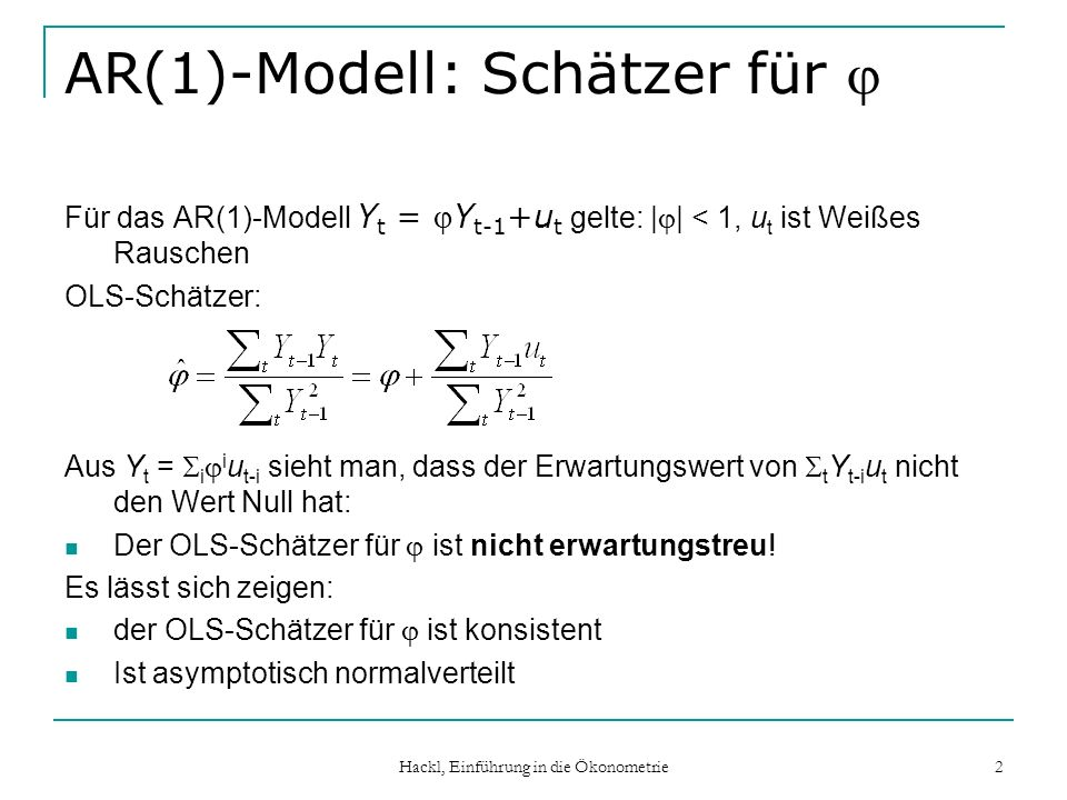 AR(1)-Modell: Schätzer für j