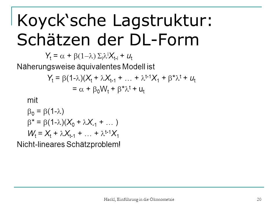 Koyck'sche Lagstruktur: Schätzen der DL-Form