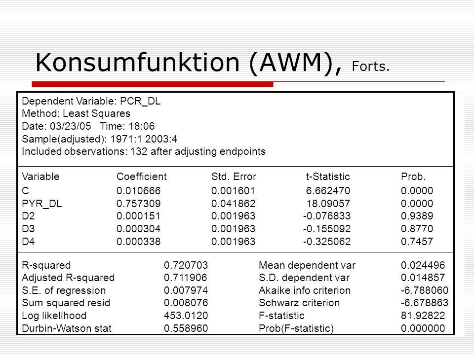 Konsumfunktion (AWM), Forts.