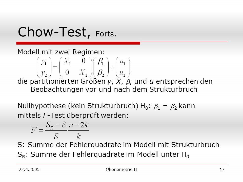 Chow-Test, Forts. Modell mit zwei Regimen: