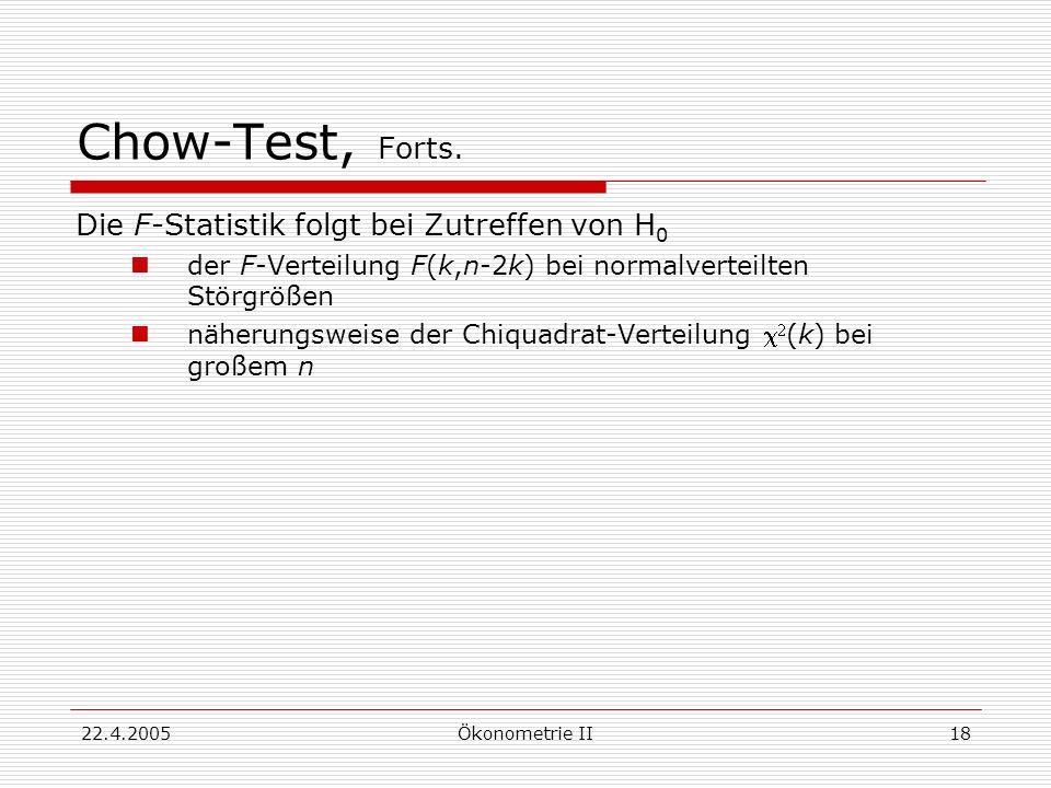 Chow-Test, Forts. Die F-Statistik folgt bei Zutreffen von H0
