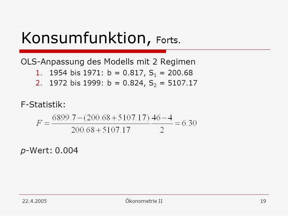 Konsumfunktion, Forts. OLS-Anpassung des Modells mit 2 Regimen