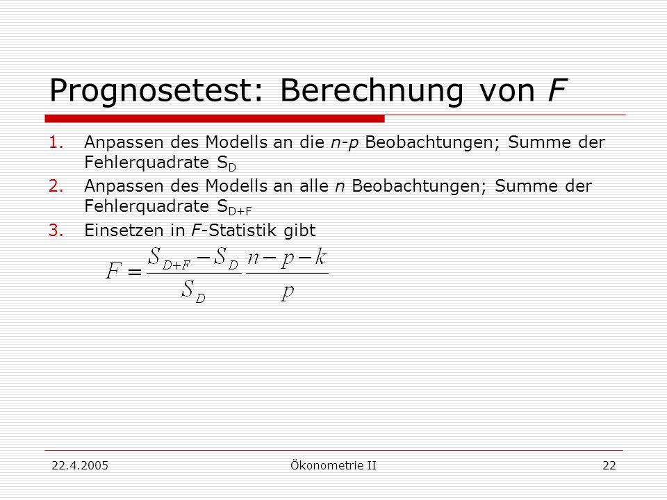 Prognosetest: Berechnung von F