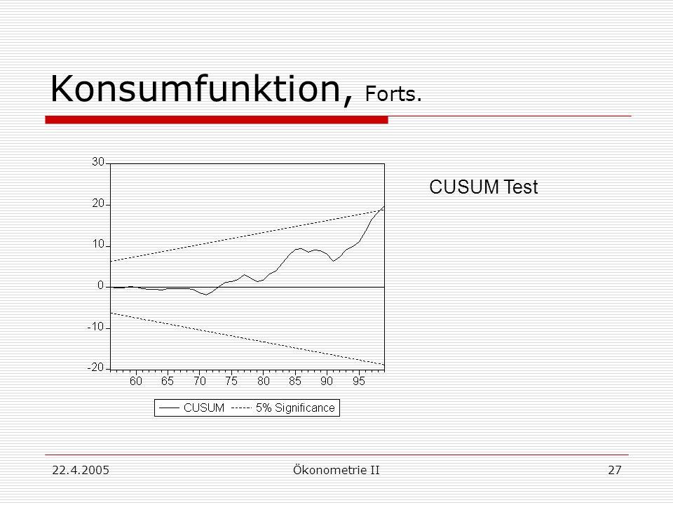 Konsumfunktion, Forts. CUSUM Test 22.4.2005 Ökonometrie II