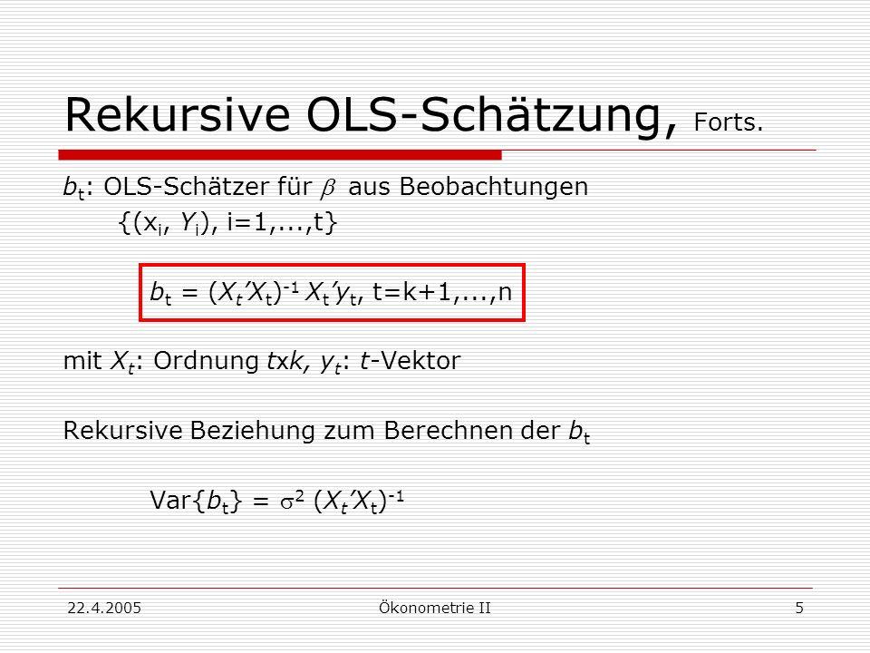 Rekursive OLS-Schätzung, Forts.