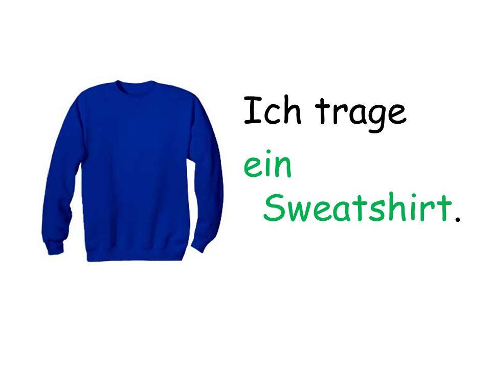 Ich trage ein Sweatshirt.