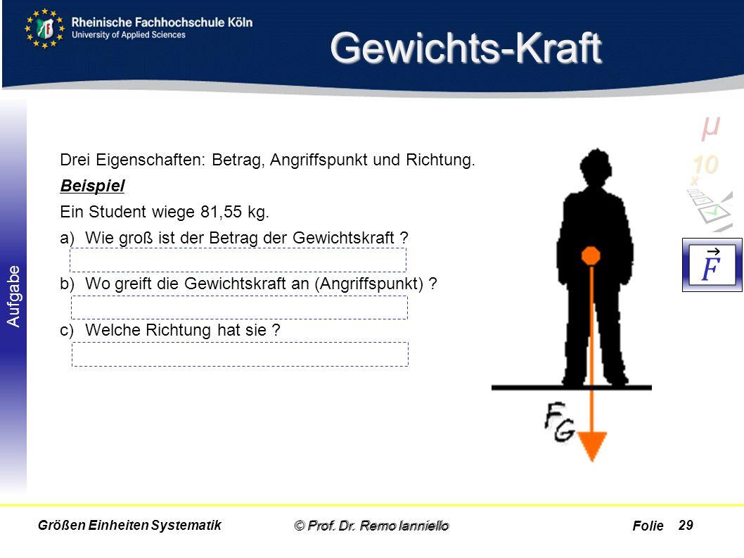 Gewichts-Kraft µ. 10 x. 𝐹. Drei Eigenschaften: Betrag, Angriffspunkt und Richtung. Beispiel. Ein Student wiege 81,55 kg.