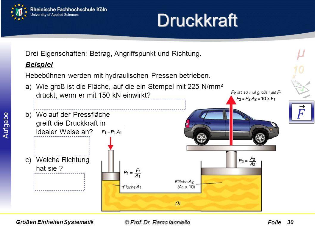 Druckkraft µ. 10 x. 𝐹. Drei Eigenschaften: Betrag, Angriffspunkt und Richtung. Beispiel. Hebebühnen werden mit hydraulischen Pressen betrieben.